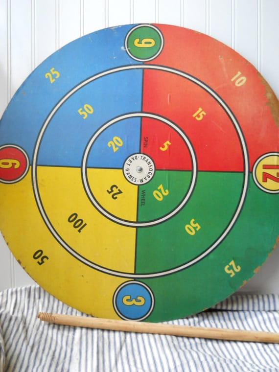 Vintage Dart Board Transogram Dart Game Board Spinning Wheel