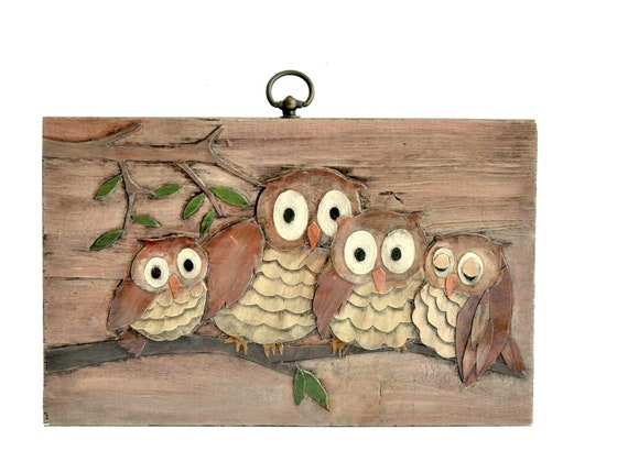 Vintage Owl-Wood-Wall Hanging