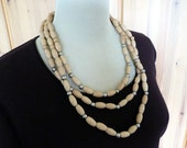 Vintage Necklace - Bohemian BOHO Triple strand blonde wood beads