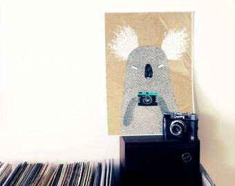 A3 print - Koala Diana with camera