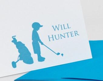 Stationery Set, Child Golf, Golf Stationery,  Personalized Stationery Set (20) plus Matching Address Labels