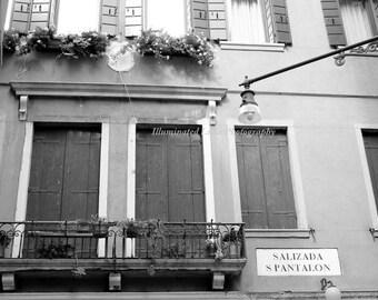 Windows along the Canal, Venice  - 5 x 7 Fine Art Black and White Photograph, Italy, Italian, Travel Wall Art