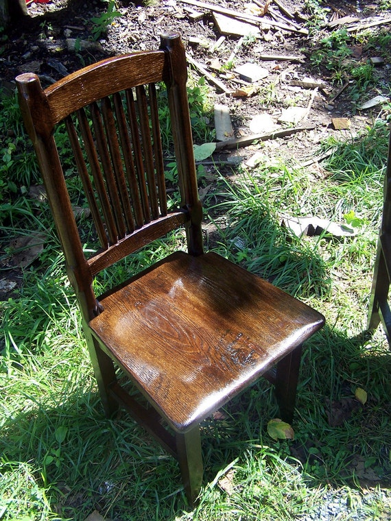 Reclaimed Antique Oak Rustic Spindle Back Chairs