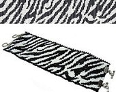 2 Patterns for 1 Price - Zebra Safari Cuff and Thin  Bracelets - Loom or 2 Drop Even Peyote Bead Patterns