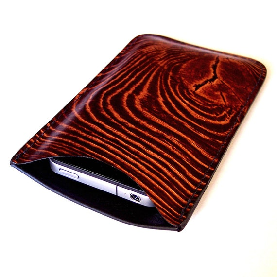 Leather iPhone 4S or 4 Case with WoodGrain Design