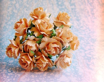Sweet Peach Peonies Vintage style Millinery Flower Bouquet - for decorating, gift wrapping, weddings, party supply, holiday