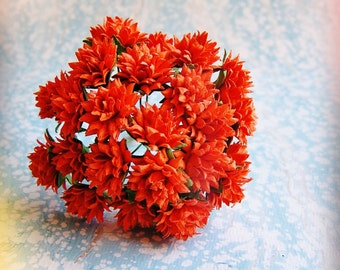 Orange Dahlias Vintage style Millinery Flower Bouquet - for decorating, gift wrapping, weddings, party supply, holiday