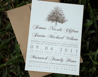 Rustic Magnolia Tree Wedding Invitations with Brown Kraft Paper Envelopes