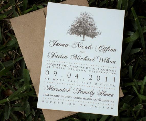 Rustic magnolia tree wedding invitations with brown kraft for Magnolia tree wedding invitations