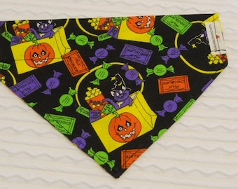 Halloween Dog Bandana with Candy & Cat Sizes S to L in Over Dog Collar Style