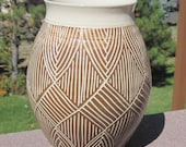Beautiful Hand Carved Pottery - Vase - Visit shop for more handmade pottery