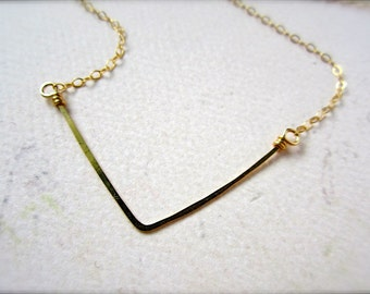 Chevron Necklace - gold chevron necklace, arrow necklace, chevron jewelry, simple chevron necklace, classy handmade jewelry, N17/N18/N23