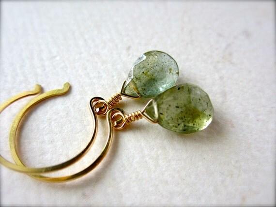 Freckles Petite Earrings - moss aquamarine earrings, green gemstone earrings, moss aquamarine drop, handmade jewelry, bridesmaid gift, DE08G