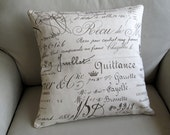 FRENCH SCRIPT documents on cotton duck pillow cover 18x18 20x20 22x22 24x24 26x26