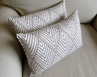 IKAT Taupe on White lumbar pillows 10x20 same fabric front and back