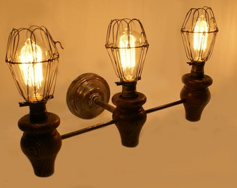 3 light vintage Inspired Industrial Wall Sconce
