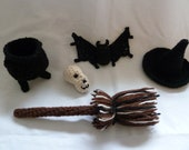 Crochet Pattern Set for Halloween - bat skull cauldron witch's broom witch's hat -  table decor  Fall Wreaths Halloween Wreaths