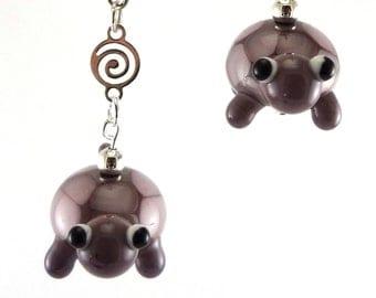 Little Purple Turtle Lampworked Glass Bead Earrings