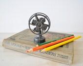 vintage copper miniature table fan pencil sharpener---back to school