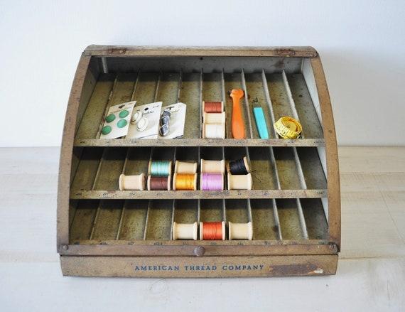 1950s vintage metal thread display case---storage, display, prop, organization