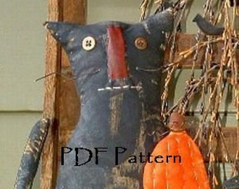 PDF Downloadable Pattern -Fred the Cat  and his Pumpkin - E-Pattern - Hafair