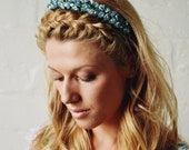 CLEARANCE SALE Everything Half Price : Pretty Floral Hair Wreath for weddings and bridesmaids - Blue, Honey or Lilac