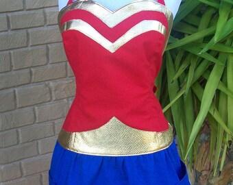 Super Hero Apron - Domestic Wonder Woman - reversible