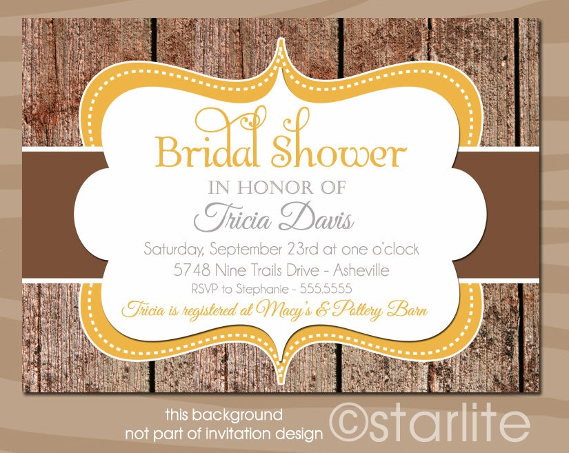 Fall Wedding Shower Invitations: Chandeliers & Pendant Lights