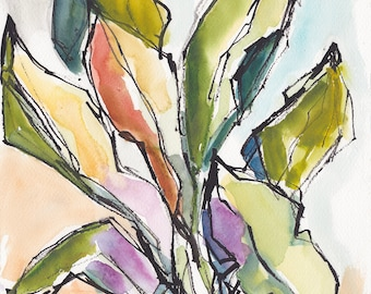 Tropical Floral Foliage Banana Leaves Garden Caribbean Watercolor Painting Print