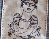 Flowers in my arms- embroidery artwork freestyle and applique hand stitched portrait
