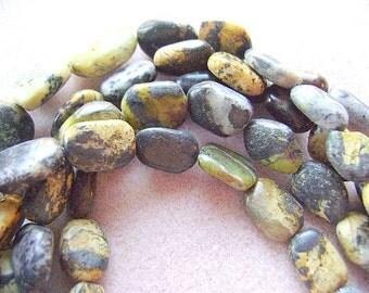 Turquoise, African, Flat, Smooth, Baroque, Rectangle, Beads, Strand, , Southwestern, Black, Grey, GREEN, Yellow, Pink, White, Brown, Matrix