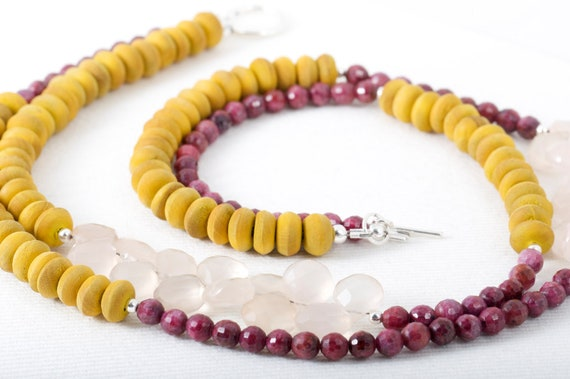Mustard Ruby Colorblock Necklace Chalcedony Wood Sterling Silver Double Strand Fall Statement