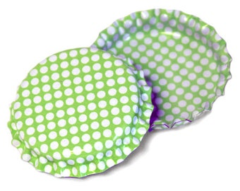 100 Lime Green w/ White Polka Dots Pattern Bottle Caps Jewelry Collection New Linerless Pastel