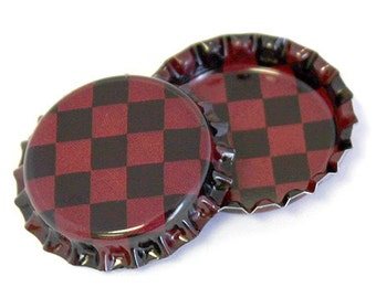 100 Two Sided Antique Checker Pattern Bottle Caps Jewelry Collection New Linerless