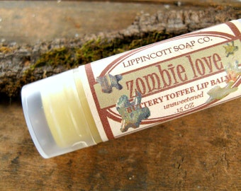 Lip Balm - Zombie Lip Balm - Buttery Toffee Lip Balm - Phthalate Free Lip Balm - Teen Gift - Unsweetened Lip Balm - Gag Gift - Novelty Gift