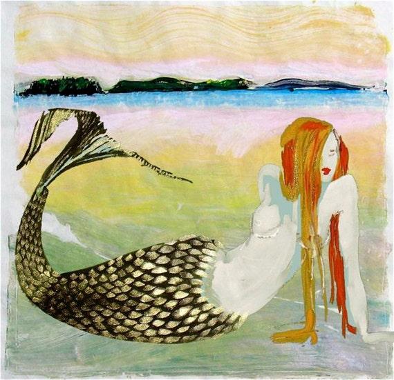 Mermaid in Maine - digital print by Gretchen Kelly
