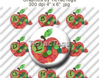 Instant Download - Happy Caterpillar Bottle Cap Images Digital Art 1 Inch Circle Alphabet Alpha Initials BTS 4x6 JPEG