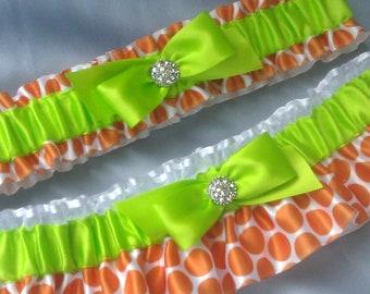 Lime Green Bright Orange Polka Dot White Garter Set with Rhinestone Accent Bridal