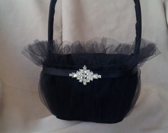 Elegant Black Flower Girl Basket Rhinestone Accented Tulle Wedding Flower Bridal