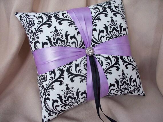Madison Damask Lavender Ring Pillow with Rhinestone Accent Bridal Wedding