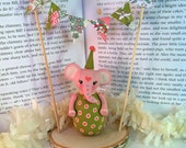 SALE Pink Elephant Doll Cake Topper with Bunting Banner and Birch Base