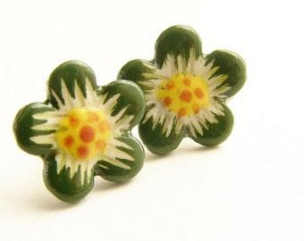 Moss green stud earrings, Vintage olive flower studs, sakura daisy post earrings mustard, olive orange flower studs