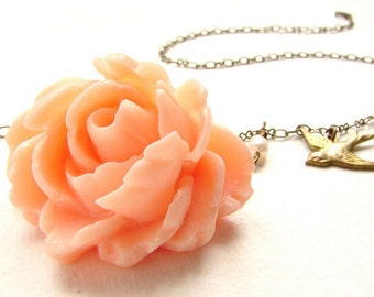 Bridesmaid jewelry, Peach rose necklace, Bridal jewelry Wedding necklace swallowtail bird apricot flower necklace