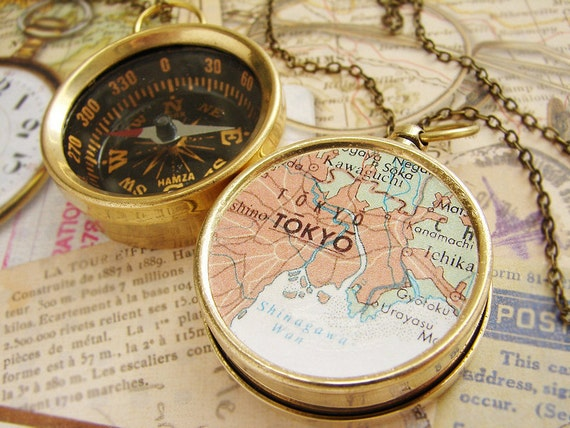 Map Compass Necklace, personalized map, custom choose your city travel anniversary gifts Tokyo Japan Map
