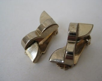 Gold Earrings Clip Vintage Modern