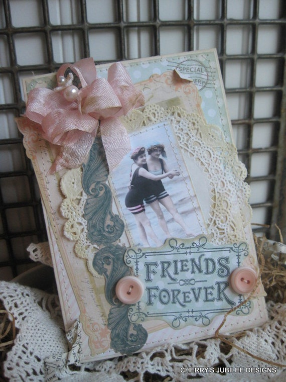 shabby chic beach bathing beauties FRIENDS FOREVER stitched handmade card