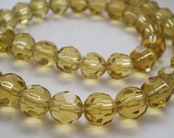 20pcs - 8mm Faceted Yellow Glass beads