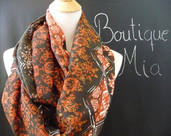 PERFECT GIFT - Infinity SCARF - Tribal Design - Chiffon super Lightweight - by Boutique Mia
