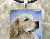 Art Glass or Wood Pendant Jewelry Necklace, painting Dog 98 Golden Retriever by L.Dumas