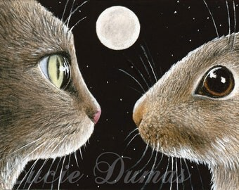 Art Print 5x7 from painting ACEO Cat 413 rabbit by Lucie Dumas